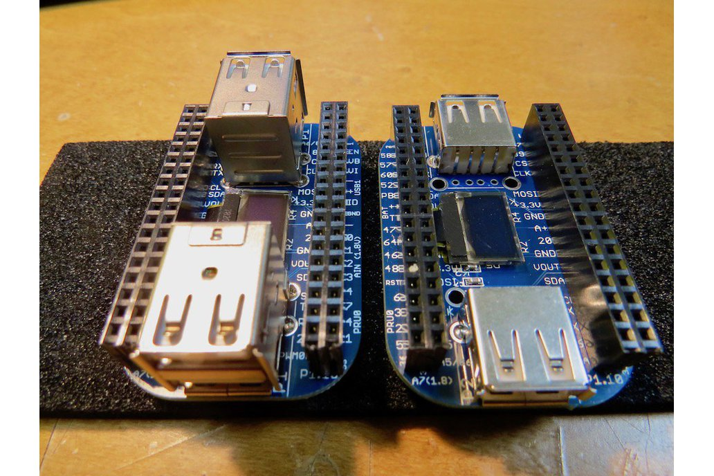 OLED with 2/4-port USB HUB cape for PocketBeagle 2