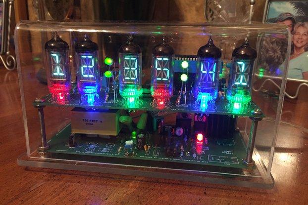 Six digit alphanumeric VFD clock wifi text autoset