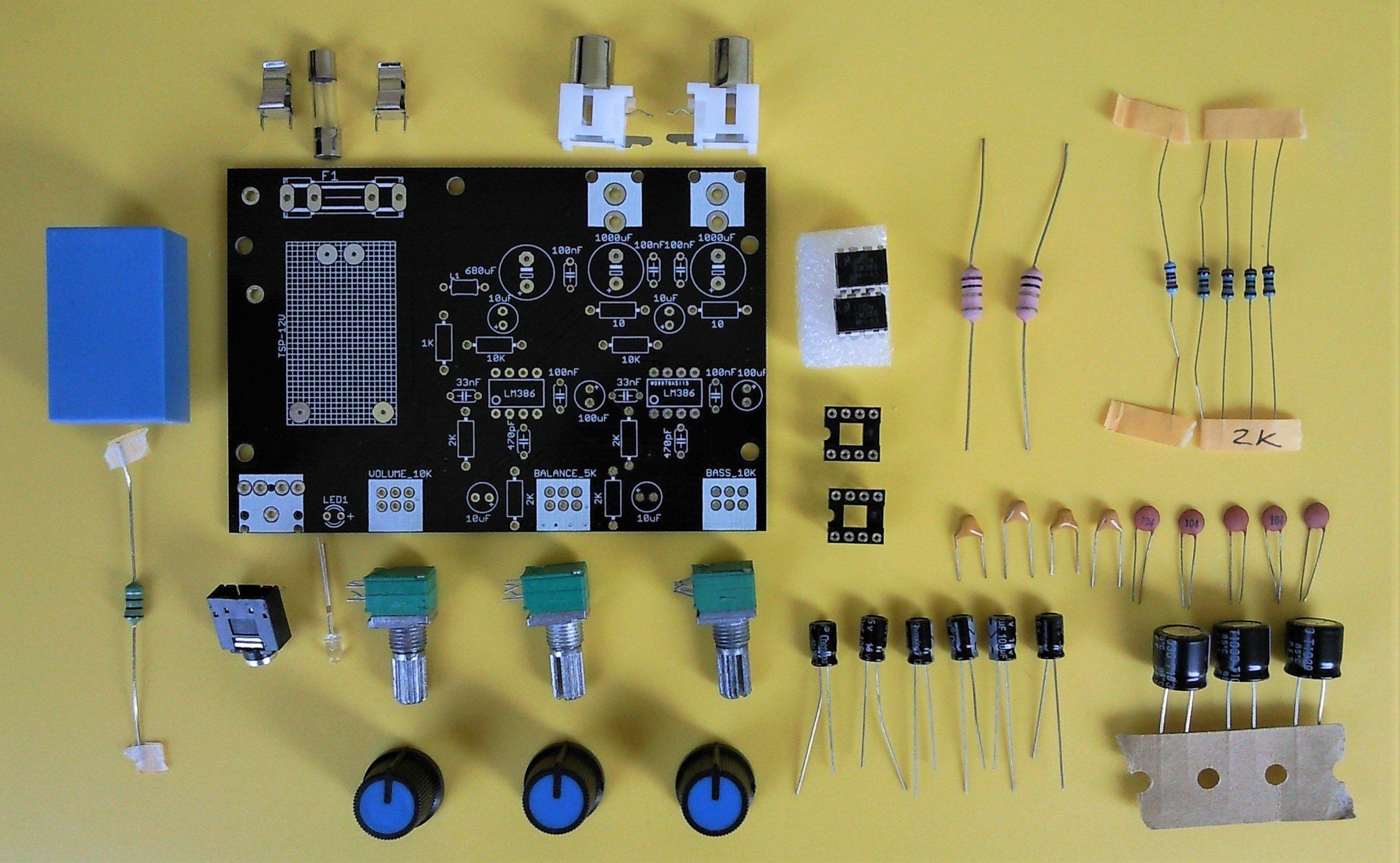 Diy Stereo Amplifier Home Design 30 Watt Circuit Gadgetronicx Lm386 With Bass Boosting Kit 1