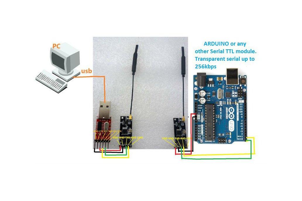 Wireless Serial TRANSPARENT LINK  Arduino uart OTA 1