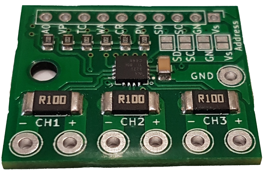 improved INA3221 breakout-3 power supplies-0.1Ohm 1