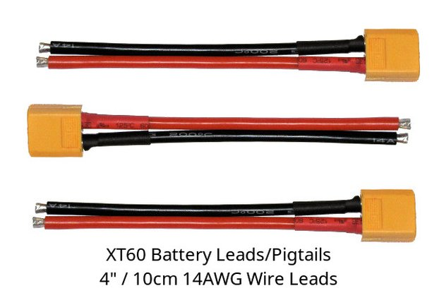 "3x XT60 male tinned 4"" 14AWG silicone wires"