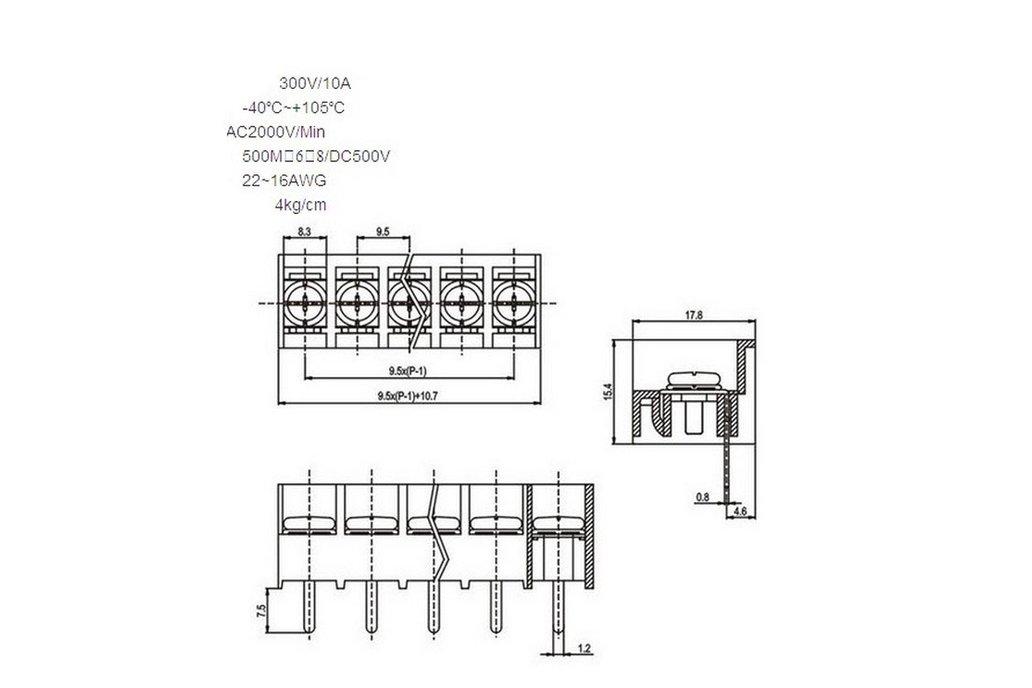 5pcs/lot HB-9500 Terminal Block Connector 12