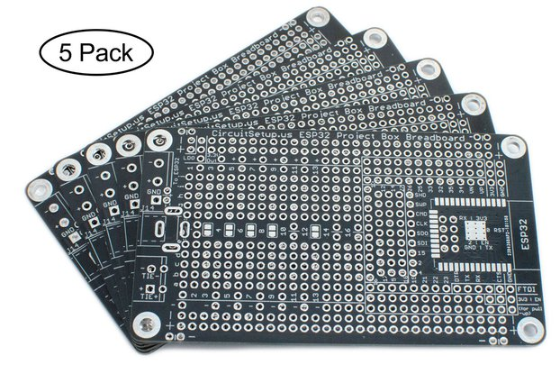 Solderable Breadboard for ESP32/ESP8266 (5-Pack)