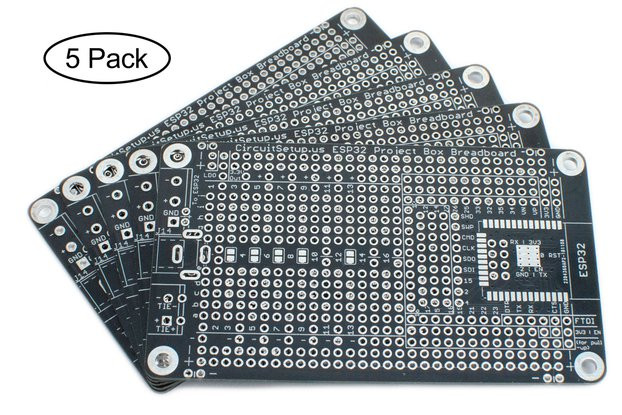 Solderable Breadboard for ESP32/ESP8266 (5-Pack)