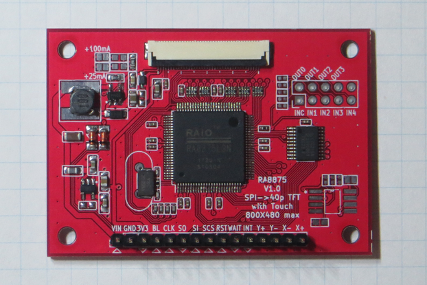 RA8875 Driver Board for 40-pin TFT Touch Displays