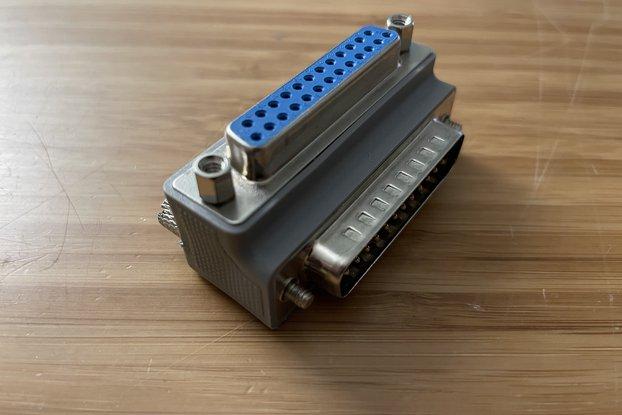 Right-angle DB25 adapter