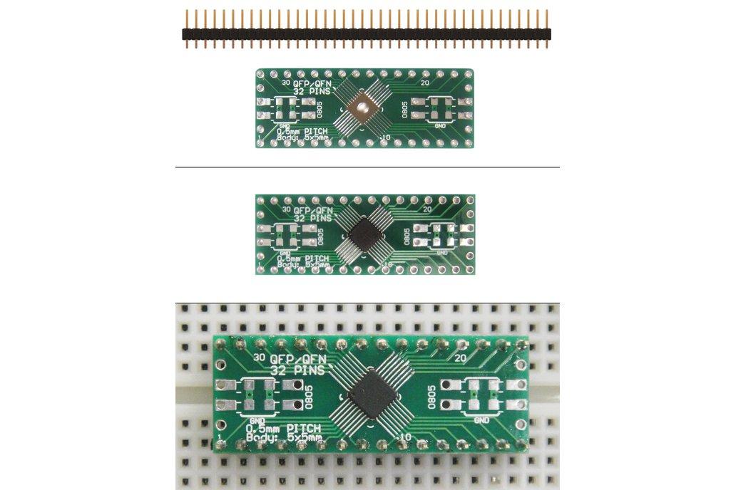SchmartBoard|ez .5mm Pitch, 32 Pin QFP & QFN Adapter 1