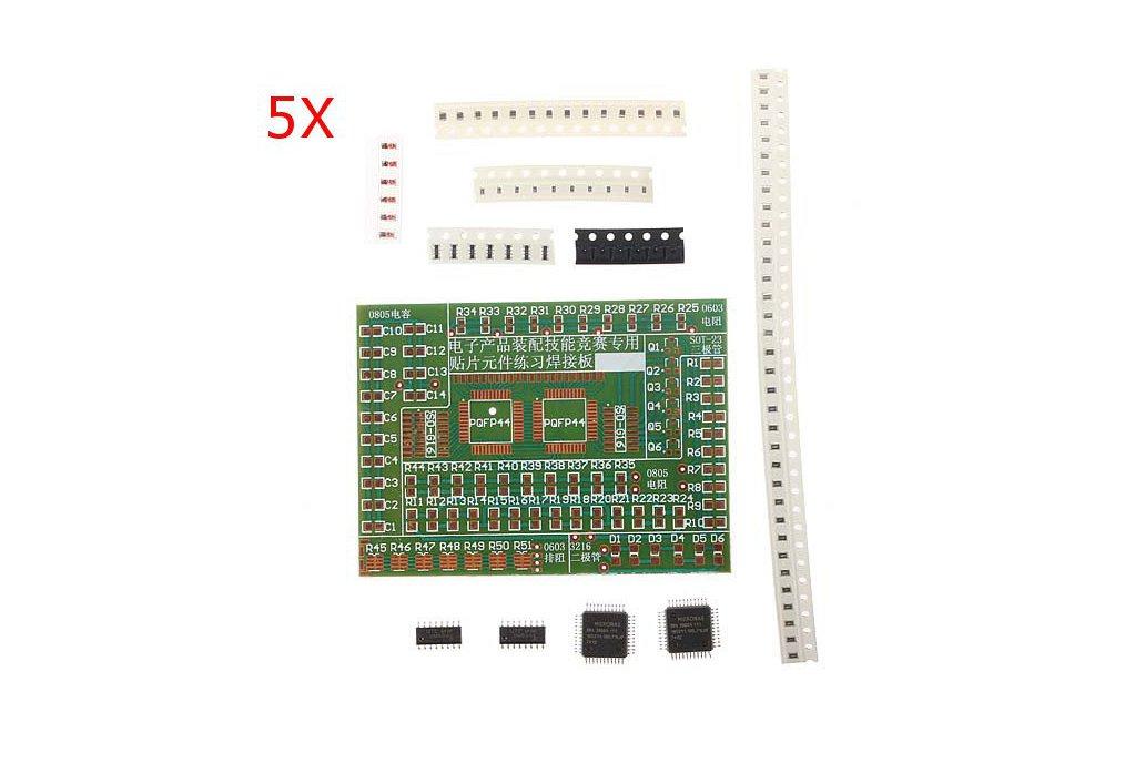 5 Pc SMD Component Solder Practice Kit 1