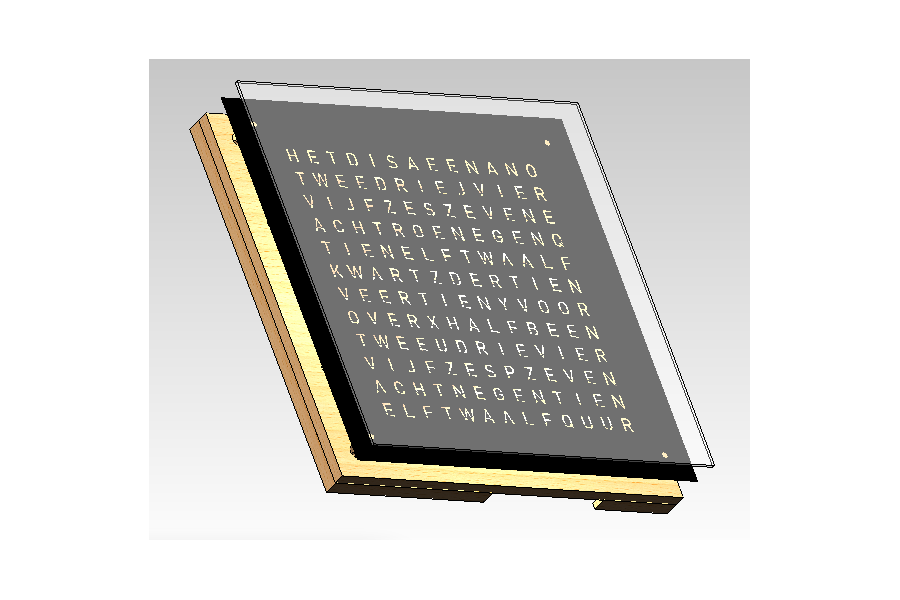 Wordclock - Frontpanel - 40x40cm