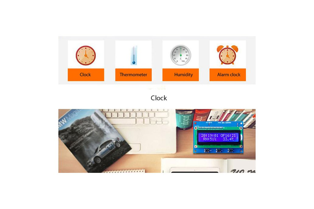 Clock Temperature Humidity Tester with LCD (13100) 3