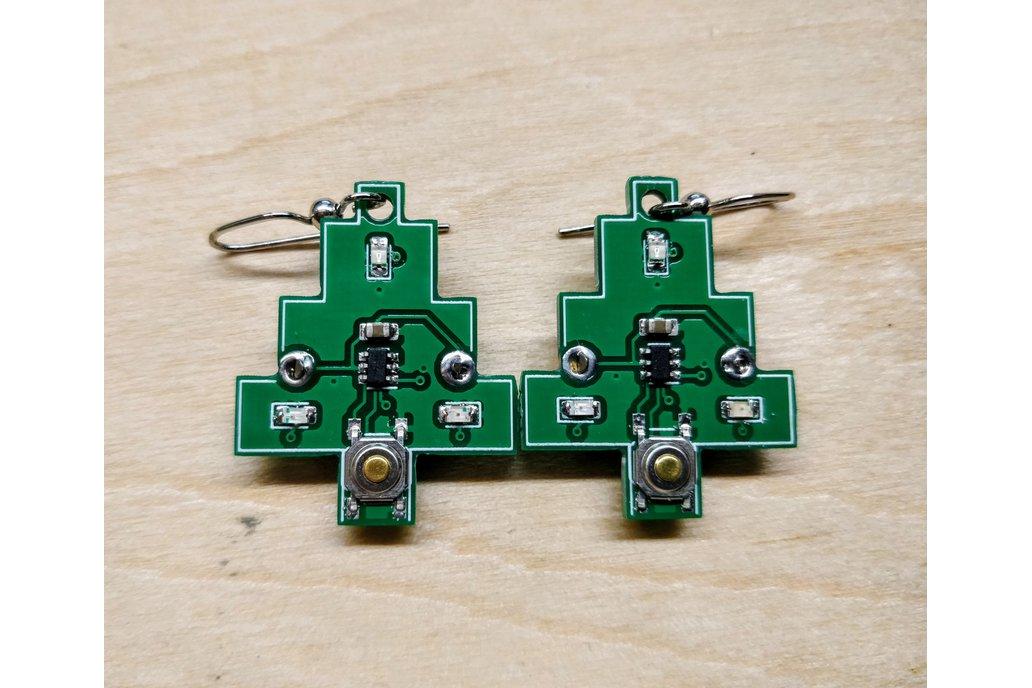 Flashing Circuit Board Christmas Tree Earrings 1