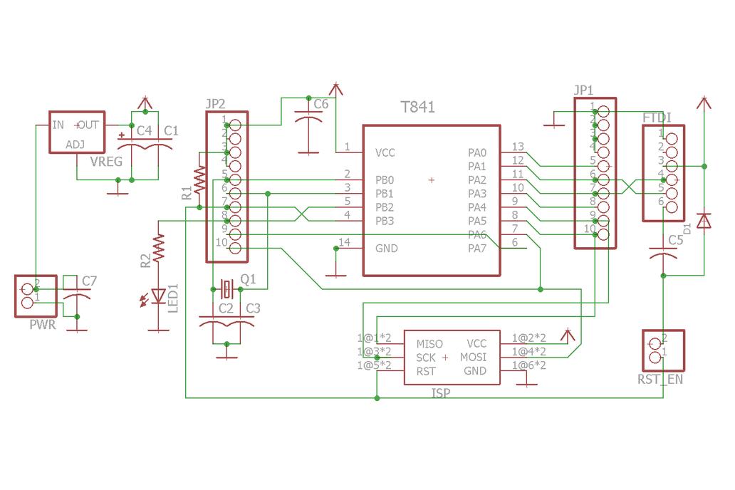 ATTiny841/84 breakout w/serial header (bare board) 2