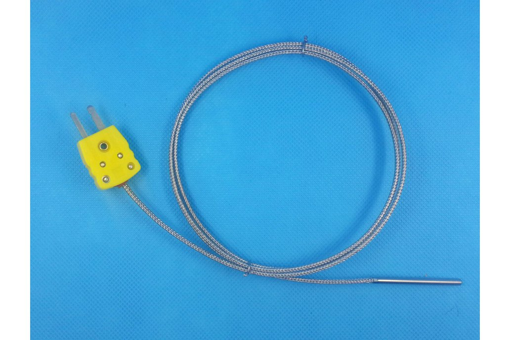 K-Type Thermocouple Probe, Metal Head, 100cm 1