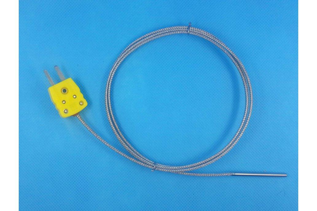 K-Type Thermocouple Probe, Metal Head, 100cm 1