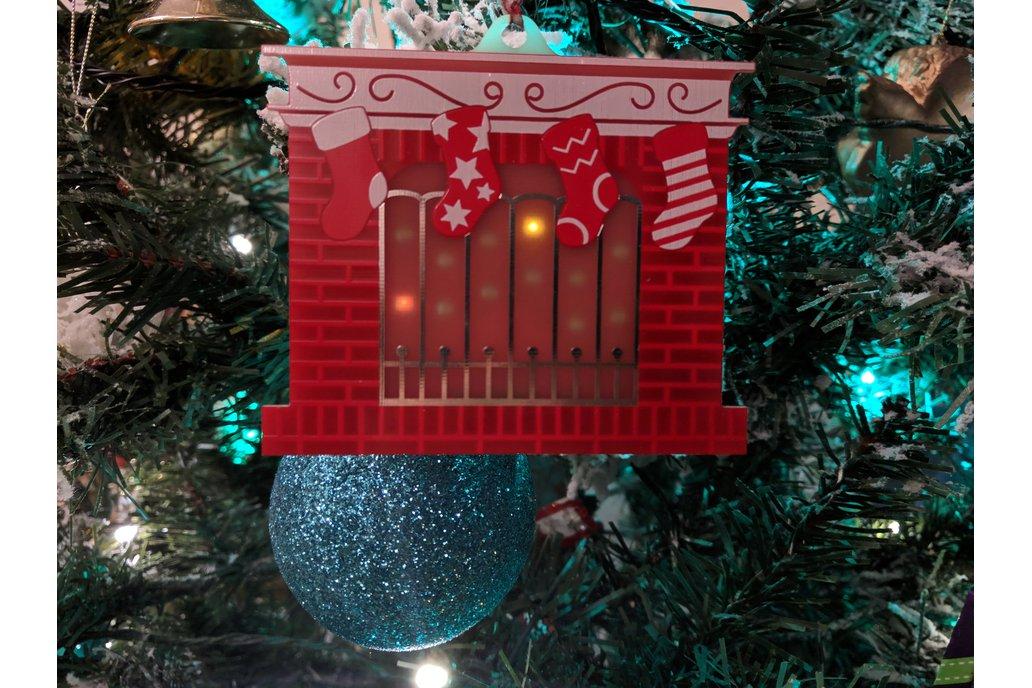 Festive Fireplace Christmas PCB Ornament 1