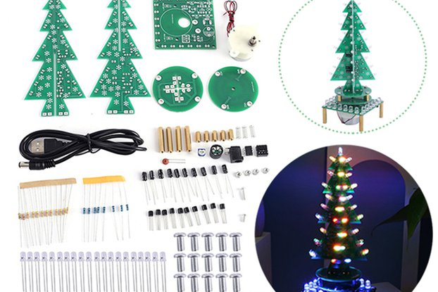Auto-Rotate Flash RGB LED Music Christmas Tree Kit