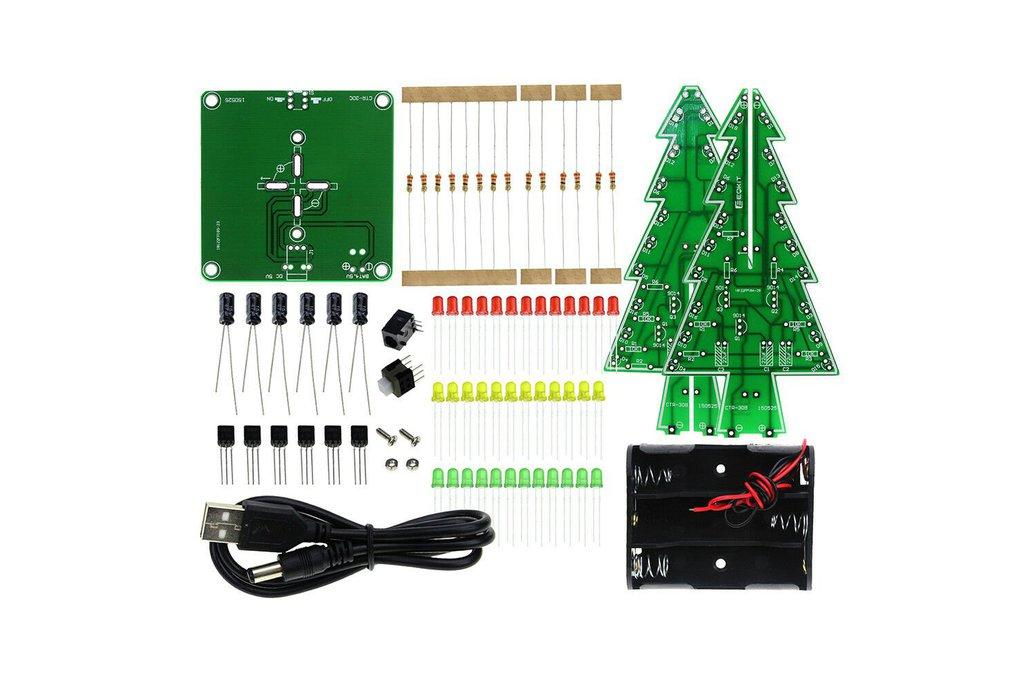 DIY 3D LED Flashing Christmas Tree Circuit Kit Gli 1