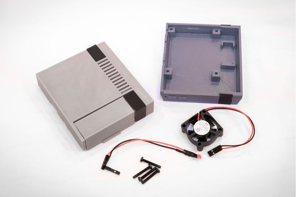 3D Printed NES Case for Raspberry Pi w/ Fan & LED 3