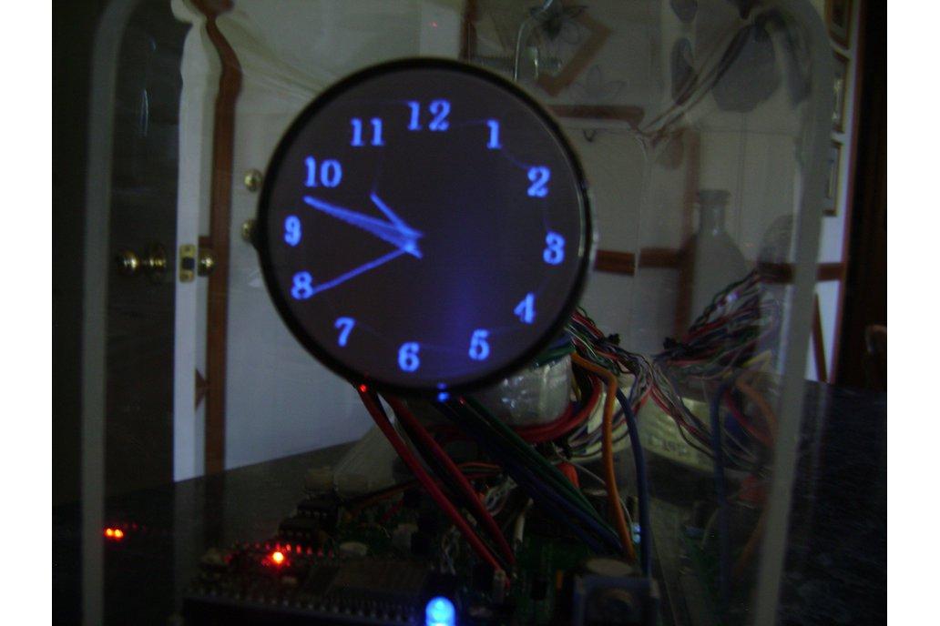 """Oscilloscope Clock blue 2"""" round Cathode Ray Tube 1"""