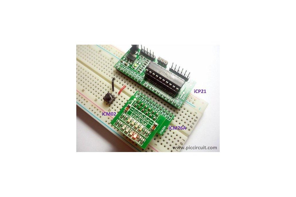 iCP21- Microchip 8, 14 & 20 pins PIC16  IO Board 7