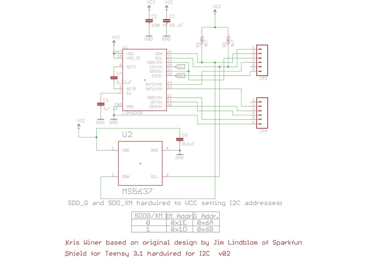 LSM9DS0 Teensy 3.X Micro Shield
