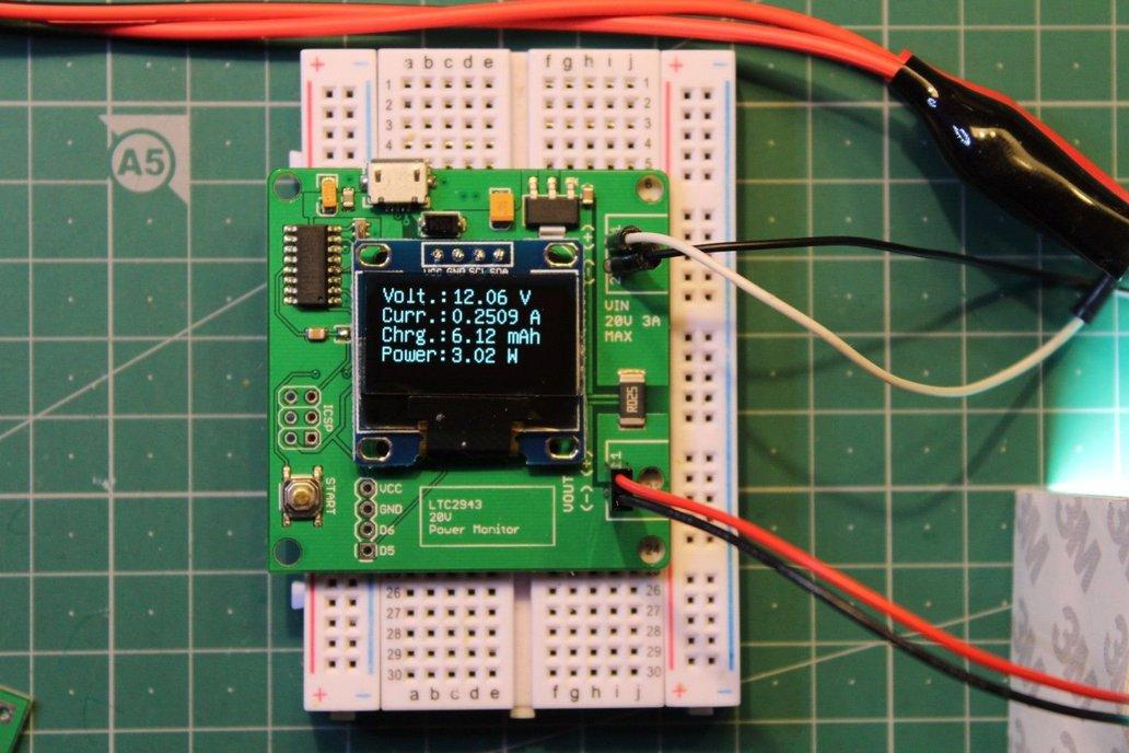Power monitor LTC2943 and ATmega328p board 1