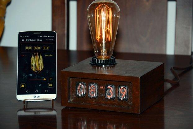 Bluetooth LE Nixie Clock with Edison Bulb Lamp