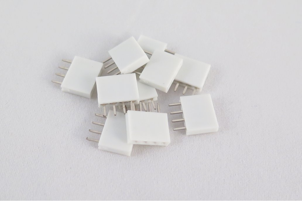 Pack of 10 white female pin headers, 4 pins 1