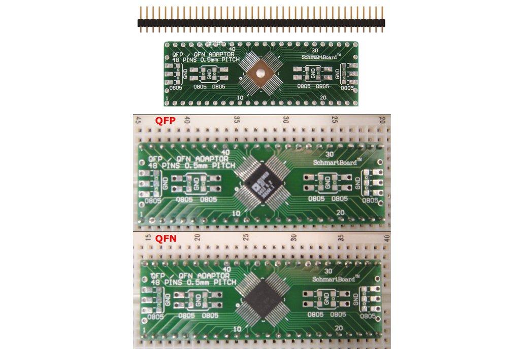 SchmartBoard|ez .5mm Pitch, 48 Pin QFP & QFN Adapter 1