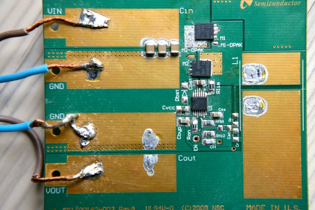 LM3150 prototype board populated for 12V to 5V DC