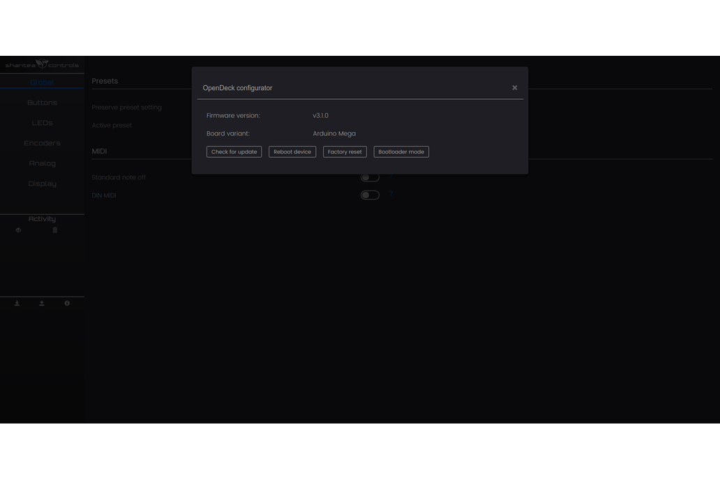 OpenDeck DIY MIDI platform - Arduino Mega Mini