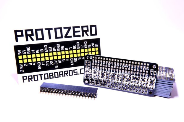 2x Black ProtoZero PCBs + Headers + GPIO Stickers