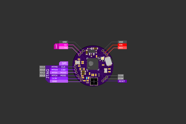 FemtoBeacon ESP32-D2WD (WiFi/Bluetooth Coin)