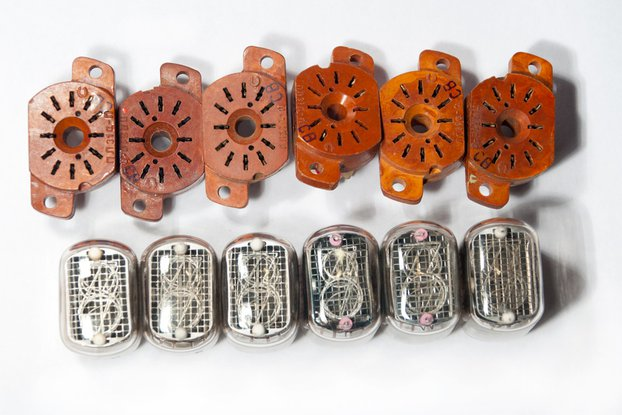 Nixie Tubes IN-12B Set of 6 pcs with 6 sockets