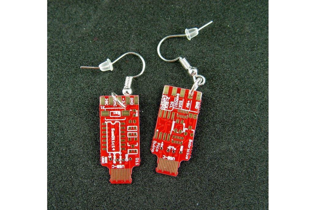 USB-C earrings, red / gold 1