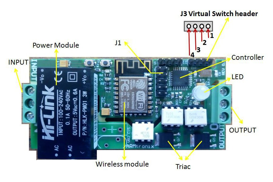 Wifi Two Triac  Board (One Dimmer,  One On/Off)