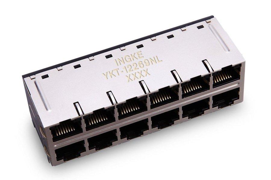 2x6 ports 10G RJ45 Jack integrated magnetics