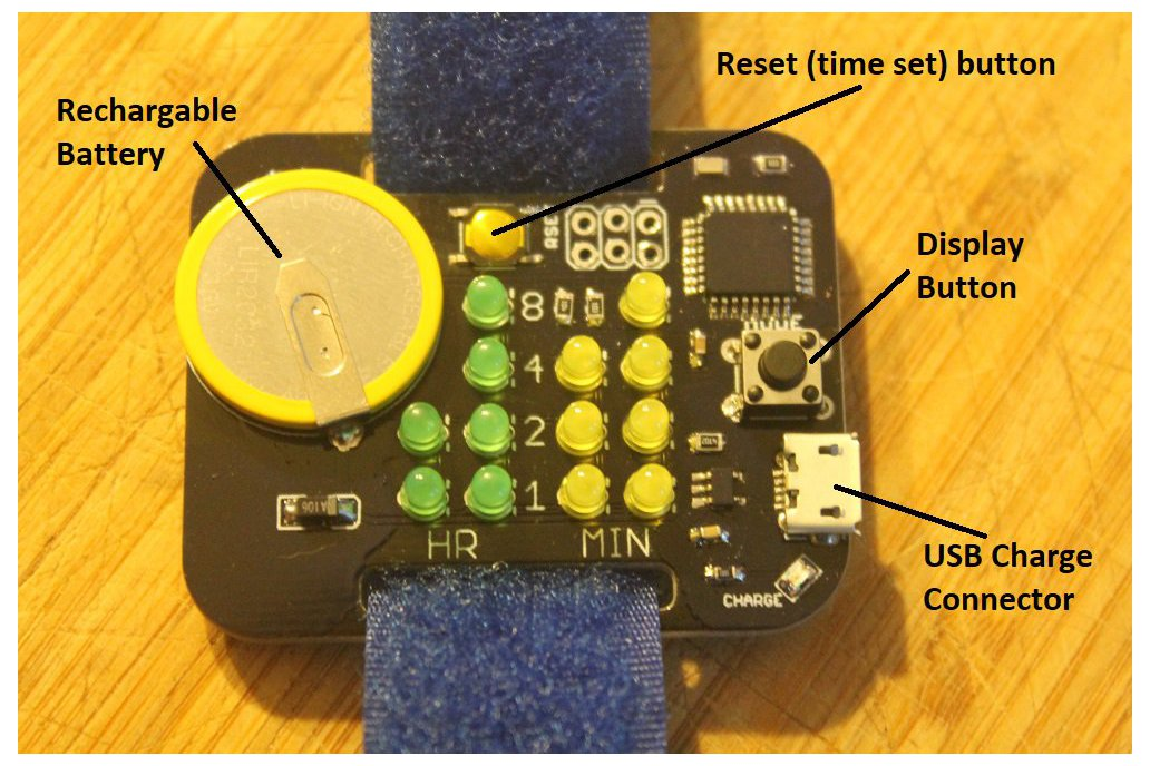 Simple Rechargeable Binary Watch 3