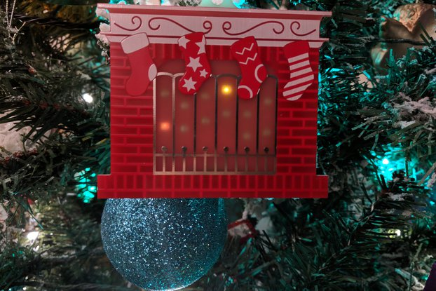 Festive Fireplace Christmas PCB Ornament