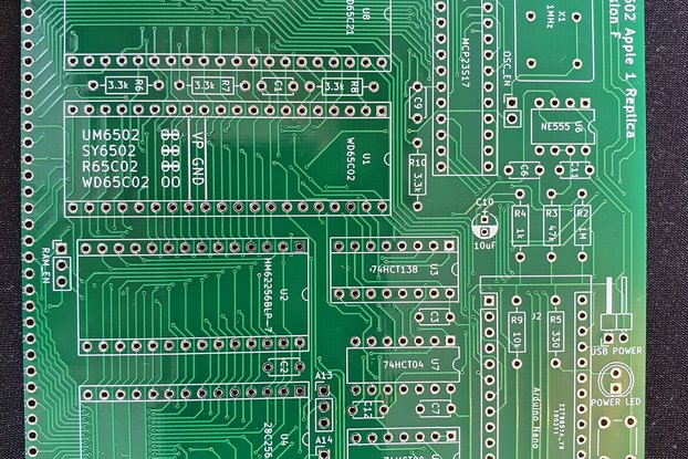 PCB for RC6502 Apple 1 Replica