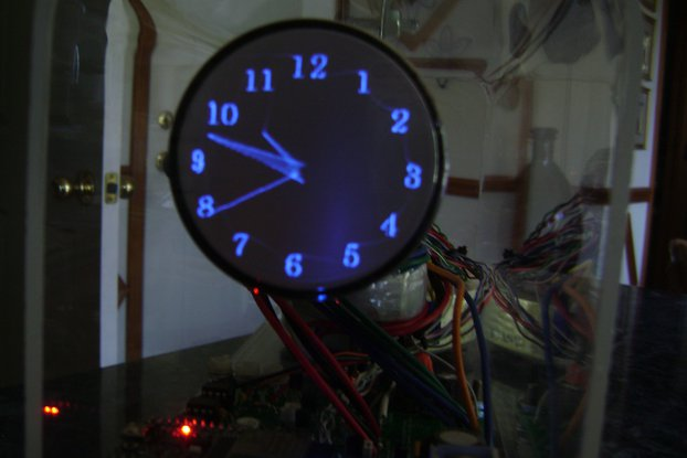"Oscilloscope Clock blue 2"" round Cathode Ray Tube"