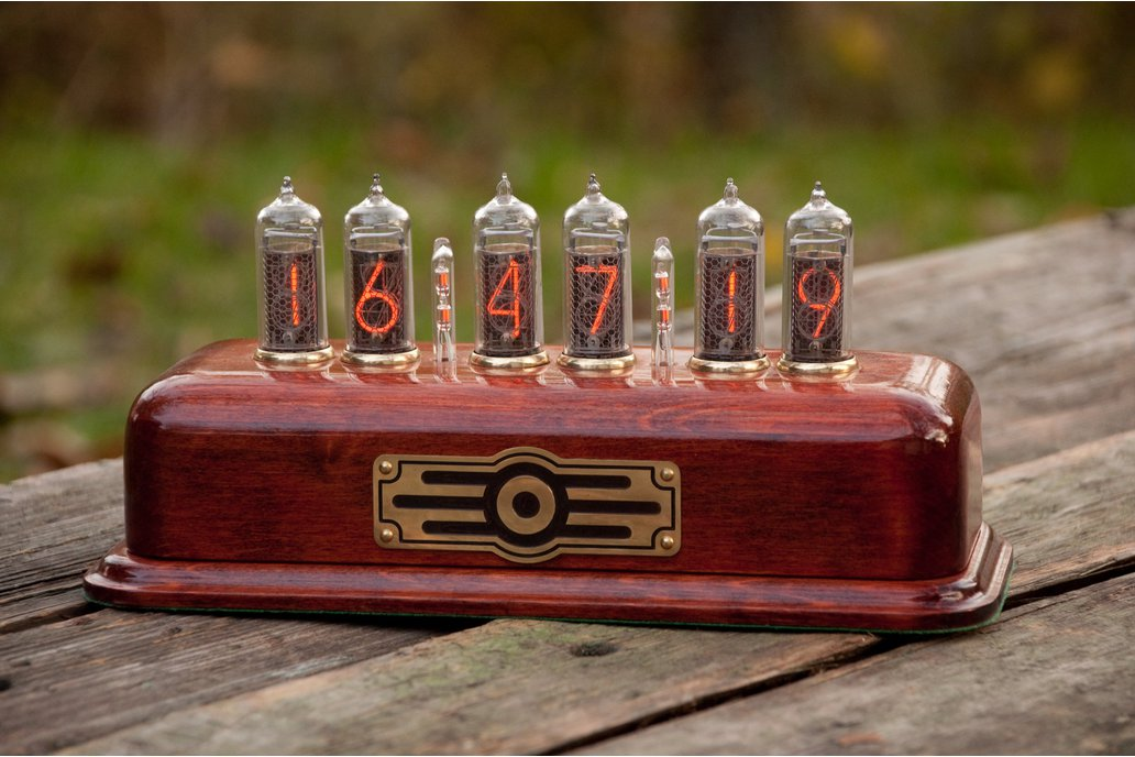 Vintage style Nixie Clock  IN-14 tubes red color 1
