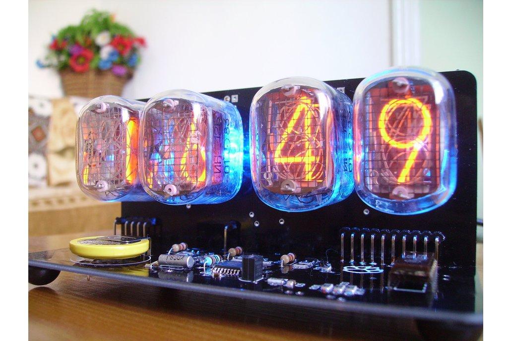 IN-12 NIXIE TUBES CLOCK BLACK PCB WITH BLUE BACKLI 6