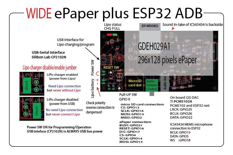 Wide ePaper plus ESP32 ADB