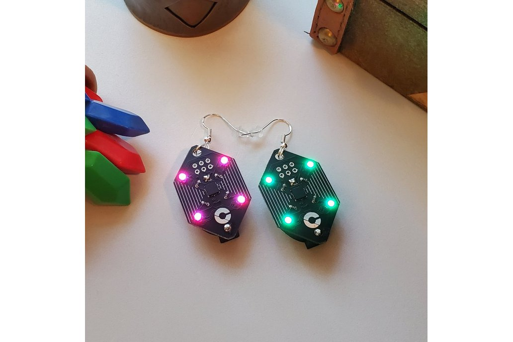 Rupee - ATTINY85 RGB Earrings 1