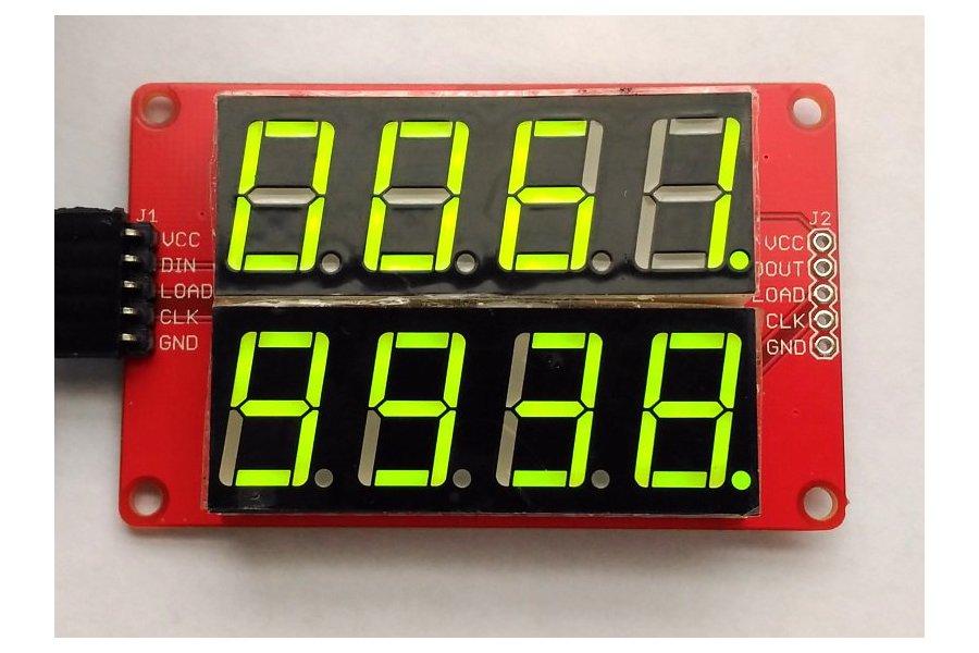 Double row 4-digit seven segment LED display-GREEN