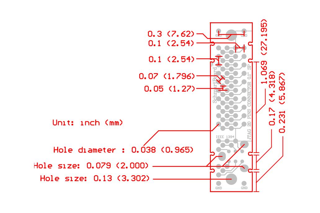 "Through Hole JTAG & IEEE1394 Connector 0.5x2"" Grid 3"