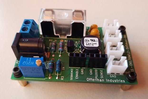 0.59-5.5V adj DC power supply, 4.5-14V in, 6A out