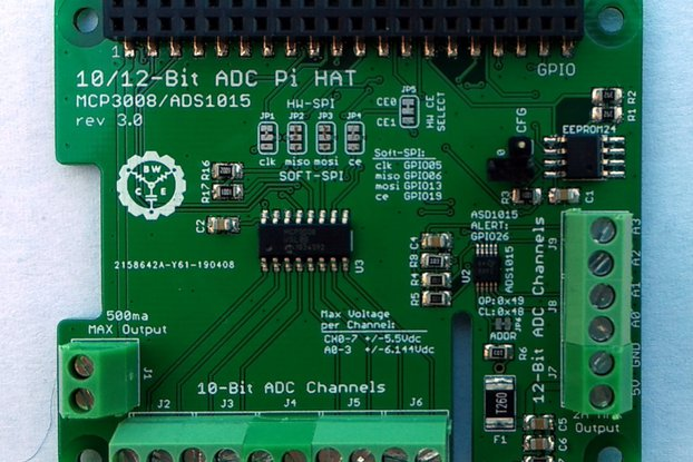 12-Ch 10/12-Bit ADC HAT for Raspberry Pi v3.0